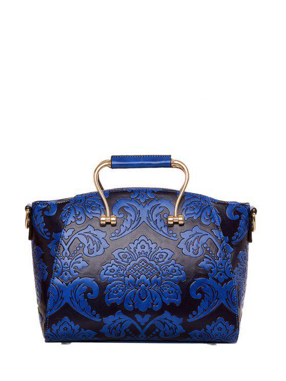 outfit Floral Embossing Metal Tote Bag - DEEP BLUE