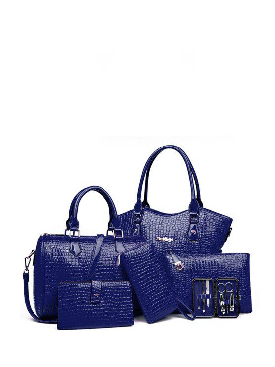 outfits Stone Pattern Solid Color Tote Bag - DEEP BLUE