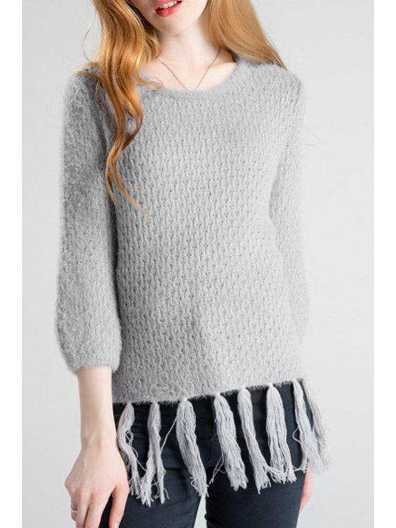 fashion Round Neck Fringed Cozy Sweater - GRAY ONE SIZE(FIT SIZE XS TO M)