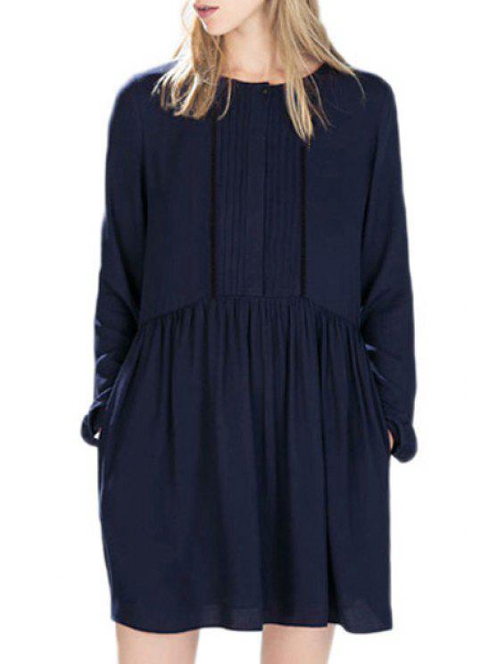 outfits Deep Blue Jewel Neck Long Sleeve Dress - DEEP BLUE L