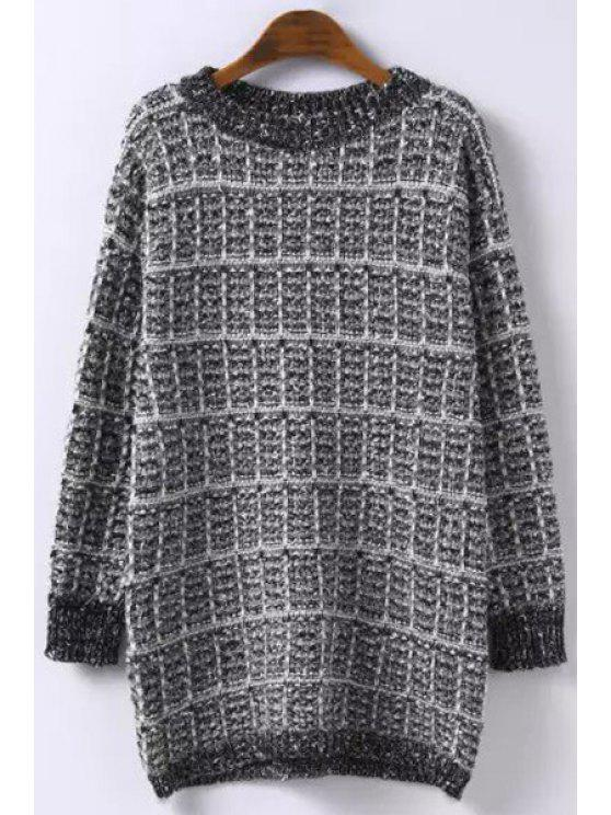 latest Checked Knitted Round Neck Long Sleeves Sweater - BLACK ONE SIZE(FIT SIZE XS TO M)