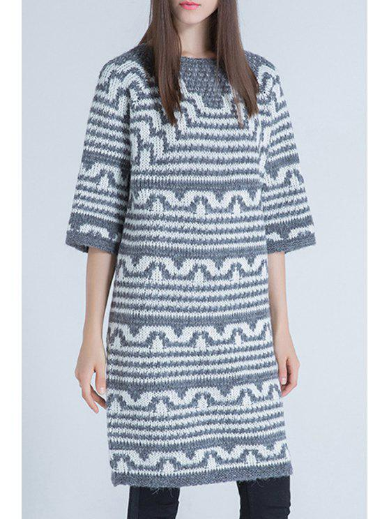 trendy Round Neck Half Sleeve Striped Sweater - GRAY ONE SIZE(FIT SIZE XS TO M)