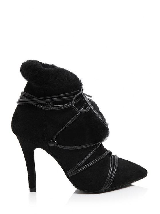 chic Pointed Toe Faux Fur High Heel Boots - BLACK 35