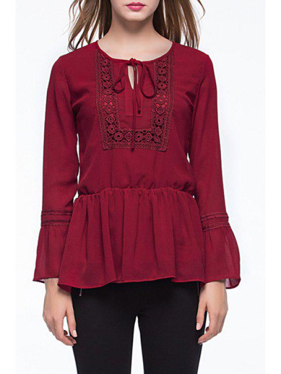 online Claret Jewel Neck Long Sleeve Blouse - CLARET XL