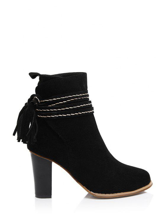 lady Tassel Suede Chunky Heel Short Boots - BLACK 35