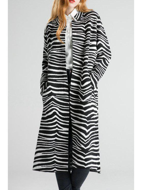 Notched Collar Zebra Pattern Cardigan - Negro Un tamaño(Montar tam