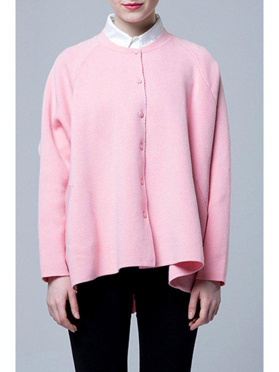 outfit Solid Color Loose Fit Cardigan - PINK ONE SIZE(FIT SIZE XS TO M)