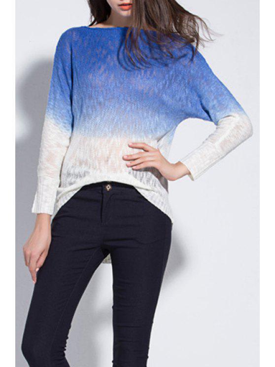 shops Ombre Color Long Sleeve Jumper - BLUE XL