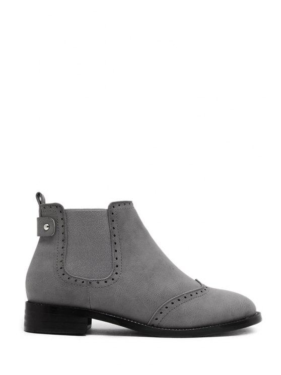 new Engraving Solid Color Elastic Short Boots - GRAY 35