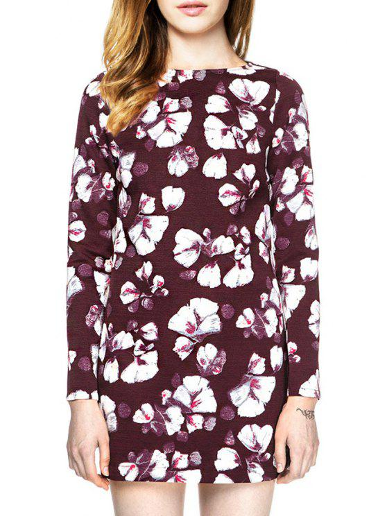 women's Floral Print Long Sleeve Backless Dress - DARK RED L