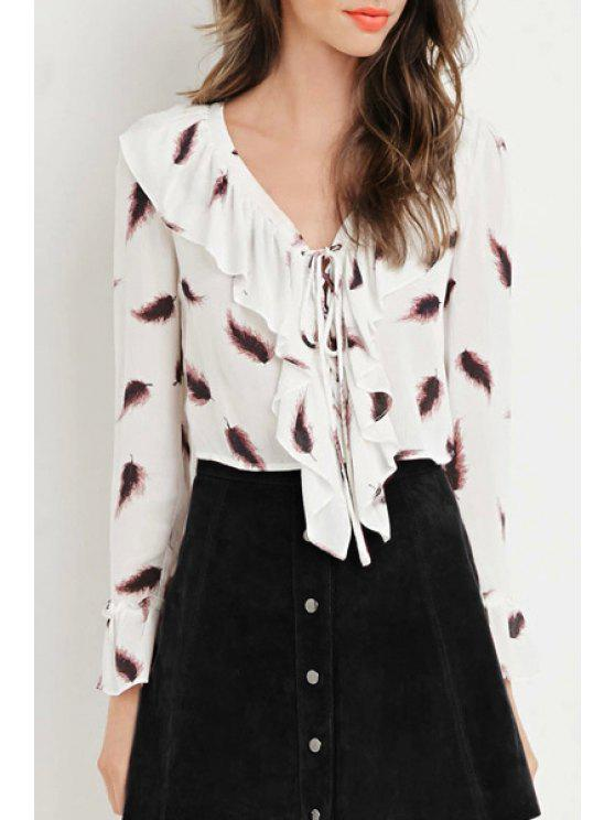 womens Feather Print V Neck Long Sleeve Shirt - WHITE S