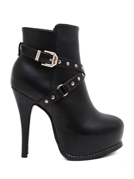 online Criss-Cross Rivets Platform High Heel Boots - BLACK 34