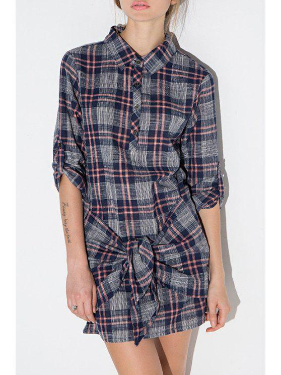 women's Plaid Self Tie Shirt Neck Dress - DEEP BLUE S