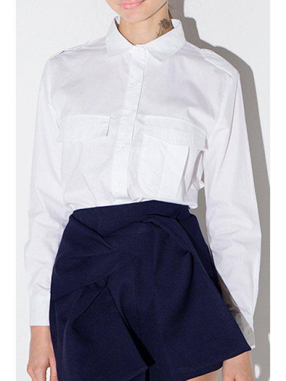 hot White Turn Down Collar Long Sleeves Shirt - WHITE S
