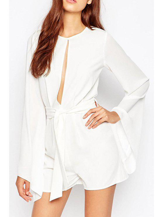 affordable White Round Neck Long Sleeve Playsuit - WHITE 2XL