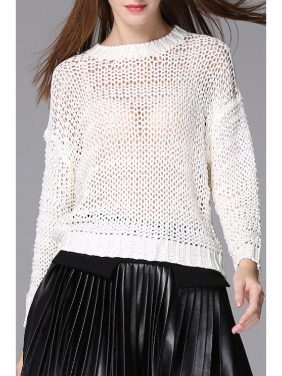latest Long Sleeve Openwork Jumper - WHITE ONE SIZE(FIT SIZE XS TO M)