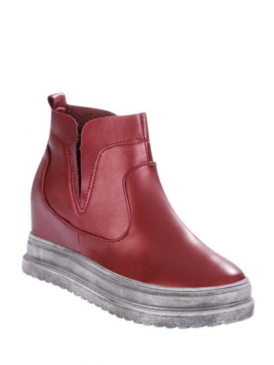 new Increased Internal Solid Color Platform Short Boots - WINE RED 35
