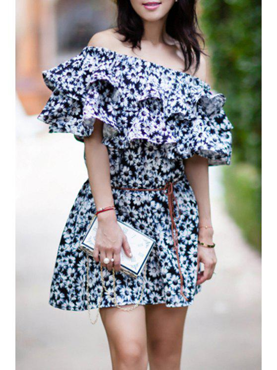 best Tiny Floral Print Off The Shoulder Dress - WHITE S