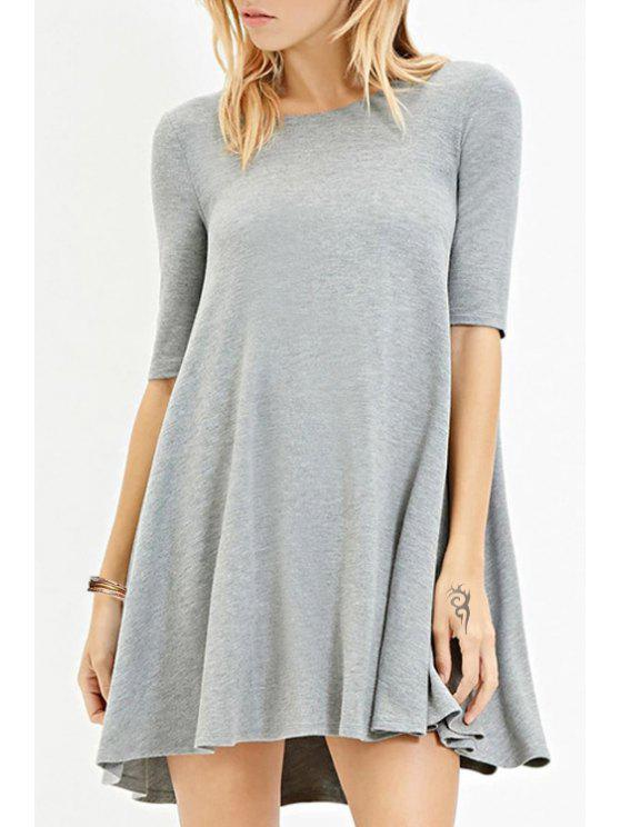 buy Solid Color Jewel Neck Half Sleeve Dress - GRAY M