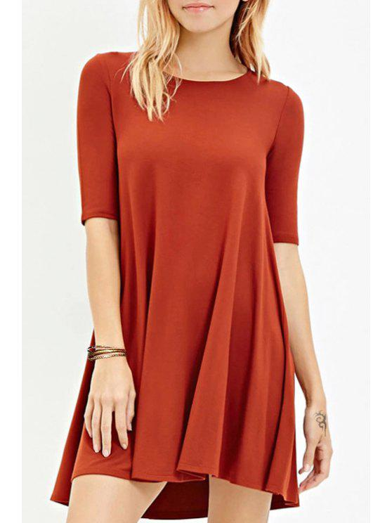 best Solid Color Jewel Neck Half Sleeve Dress - RED L