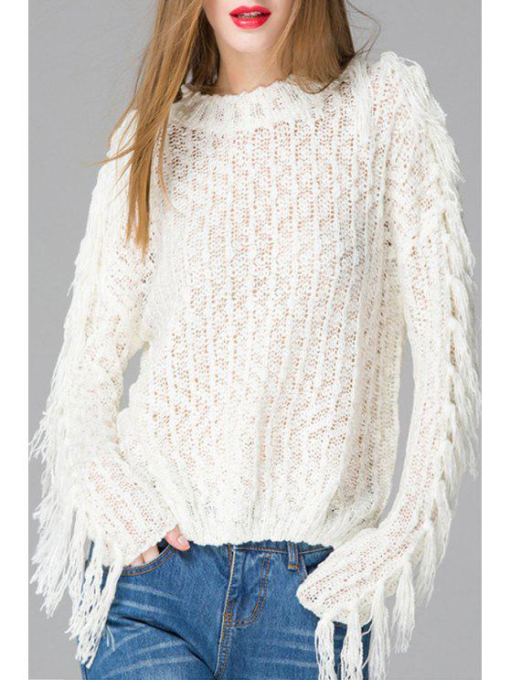 sale Round Neck Fringed White Sweater - WHITE ONE SIZE(FIT SIZE XS TO M)