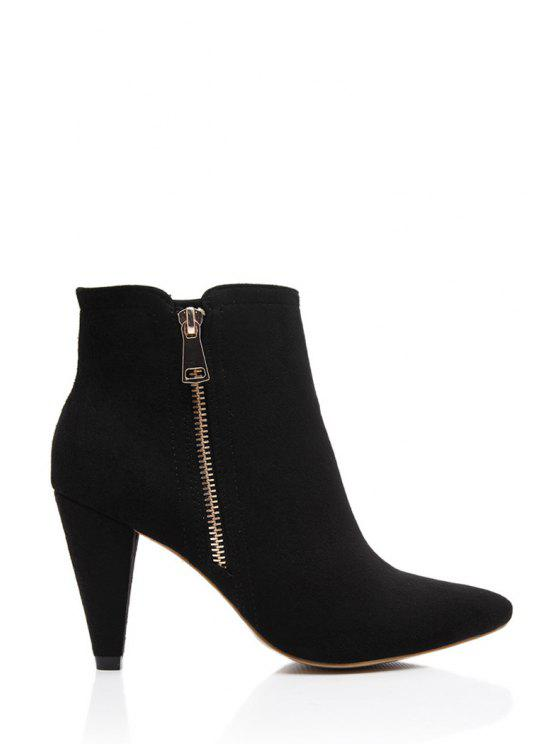 fancy Suede Solid Color Pointed Toe Short Boots - BLACK 35