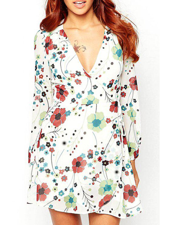 outfits Flower Print Plunging Neck Long Sleeve Dress - WHITE S
