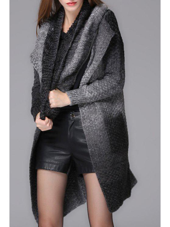 affordable Pocket Design Ombre Color Long Cardigan - BLACK AND GREY ONE SIZE(FIT SIZE XS TO M)