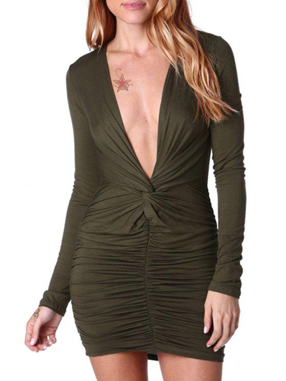 unique Ruched Bodycon Plunging Neck Long Sleeve Dress - BLACKISH GREEN S