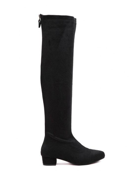 fashion Chunky Heel Black Suede Thigh High Boots - BLACK 34