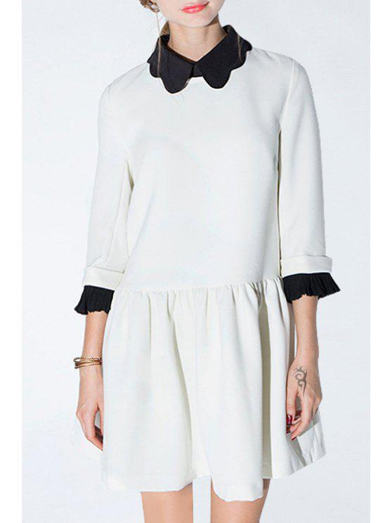 fancy Color Block Turn Down Collar 3/4 Sleeve Dress - WHITE S