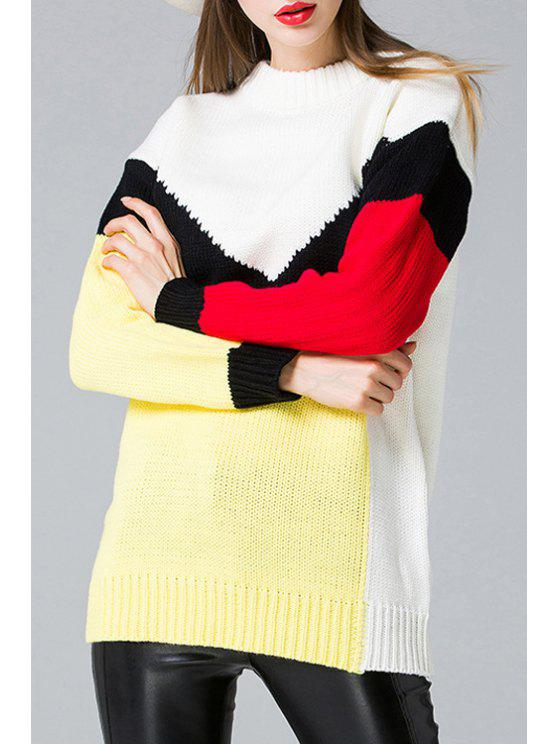 buy Long Sleeve Round Neck Hit Color Sweater - WHITE ONE SIZE(FIT SIZE XS TO M)