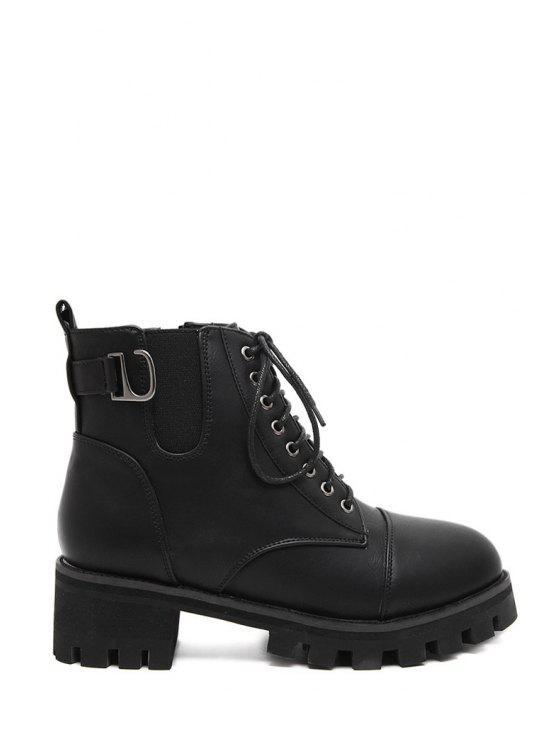 buy Platform Chunky Heel Elastic Short Boots - BLACK 35