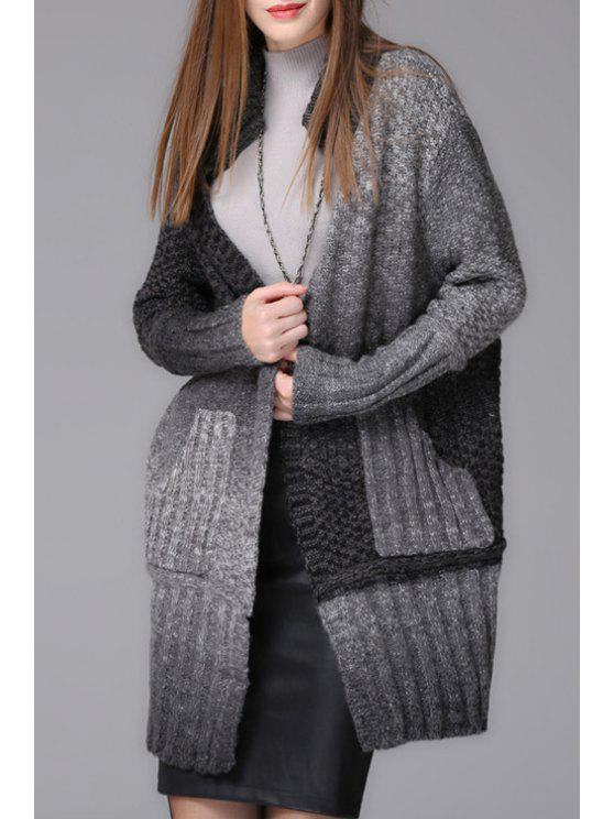 buy Ombre Color Stand Neck Long Sleeve Cardigan - BLACK AND GREY ONE SIZE(FIT SIZE XS TO M)