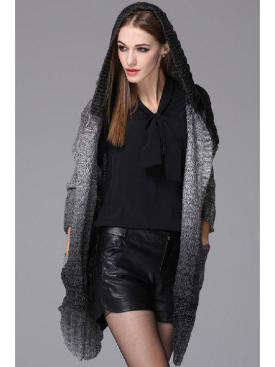 affordable Hooded Ombre Color Long Cardigan - BLACK AND GREY ONE SIZE(FIT SIZE XS TO M)