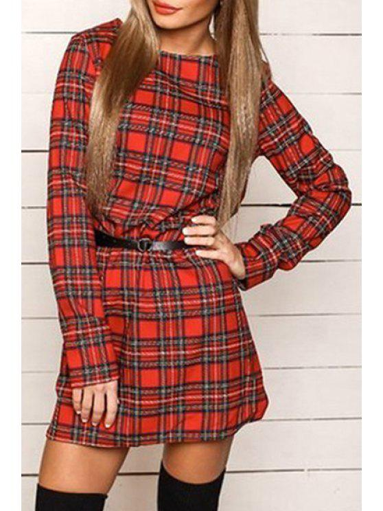 women's Checked Round Collar Long Sleeves Mini Dress - RED S