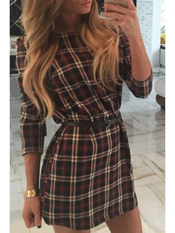 58167df6a64d 58% OFF  2019 Checked Round Collar Long Sleeves Mini Dress In COFFEE ...