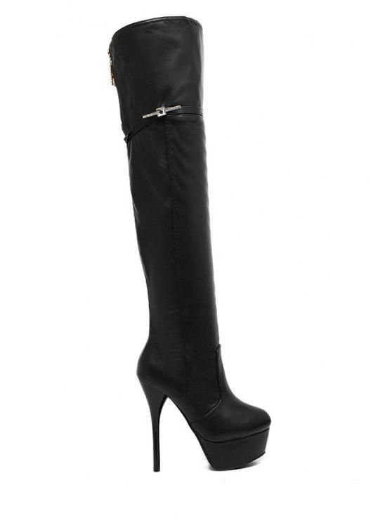new Stiletto Heel Rhinestone Black Thigh Boots - BLACK 34