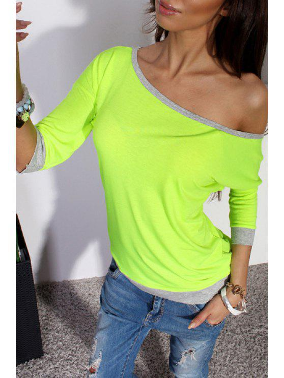 women's Solid Color Sloping Collar 3/4 Sleeves T-Shirt - NEON GREEN S
