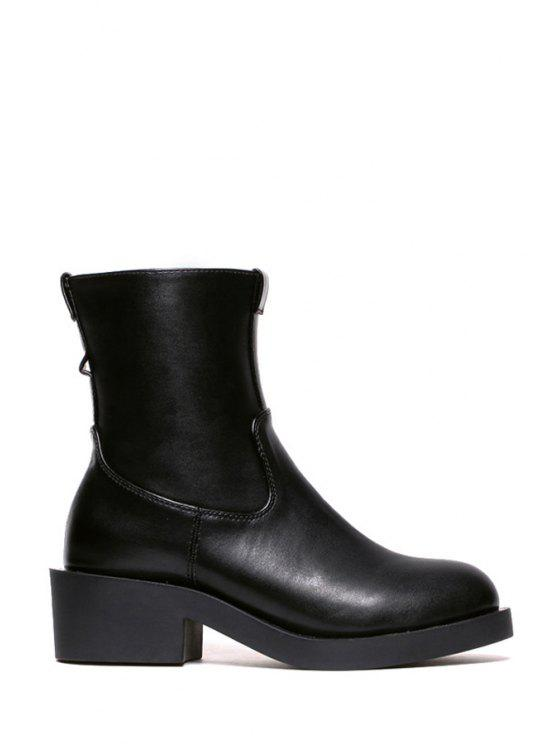 women's Chunky Heel Solid Color Short Boots - BLACK 36