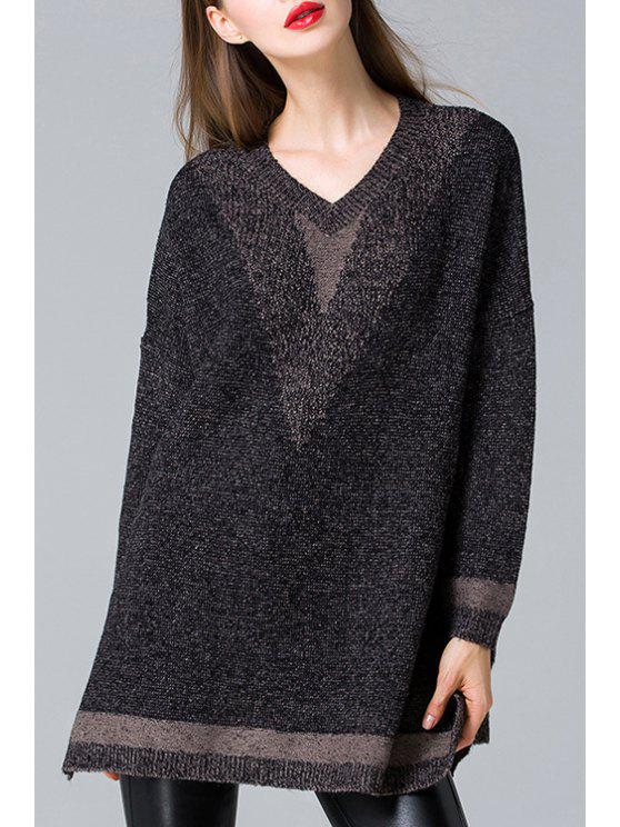 shops Side Slit V Neck Long Sleeve Jumper - BLACK ONE SIZE(FIT SIZE XS TO M)