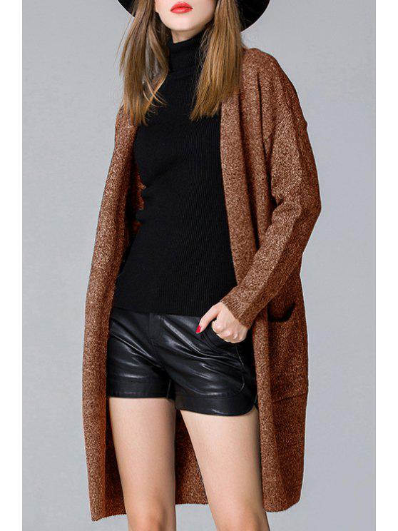 latest Pure Color Long Sleeve Pockets Cardigan - COFFEE ONE SIZE(FIT SIZE XS TO M)