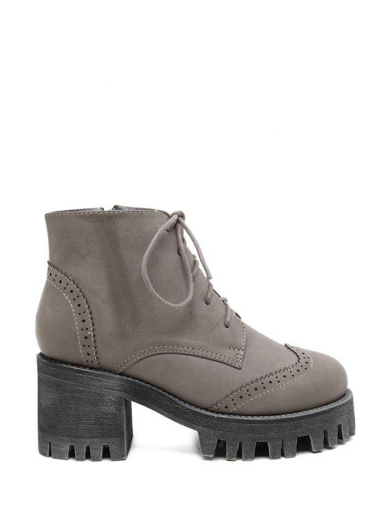 online Engraving Chunky Heel Solid Color Ankle Boots - GRAY 35