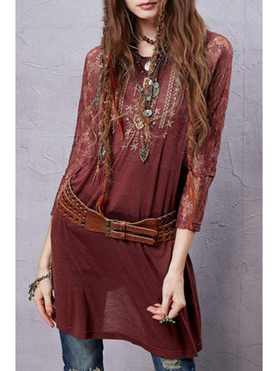 fashion Lace Sleeve Embroidered Red T-Shirt - RED M