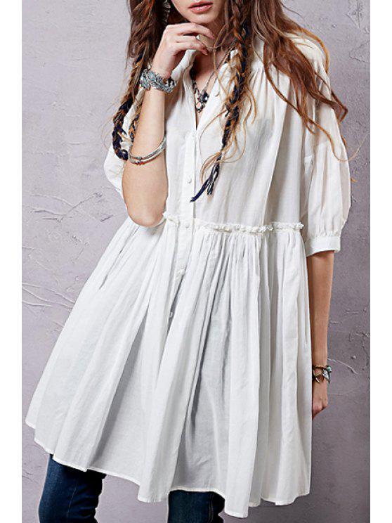 women's Button Up Half Sleeve Smock Shirt Dress - WHITE L
