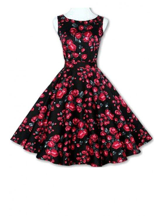 unique Floral Print A-Line Round Color Sleeveless Dress - BLACK XL