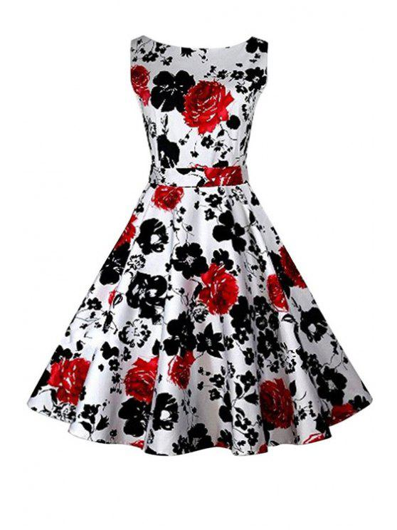 women Floral Print A-Line Round Color Sleeveless Dress - RED XL