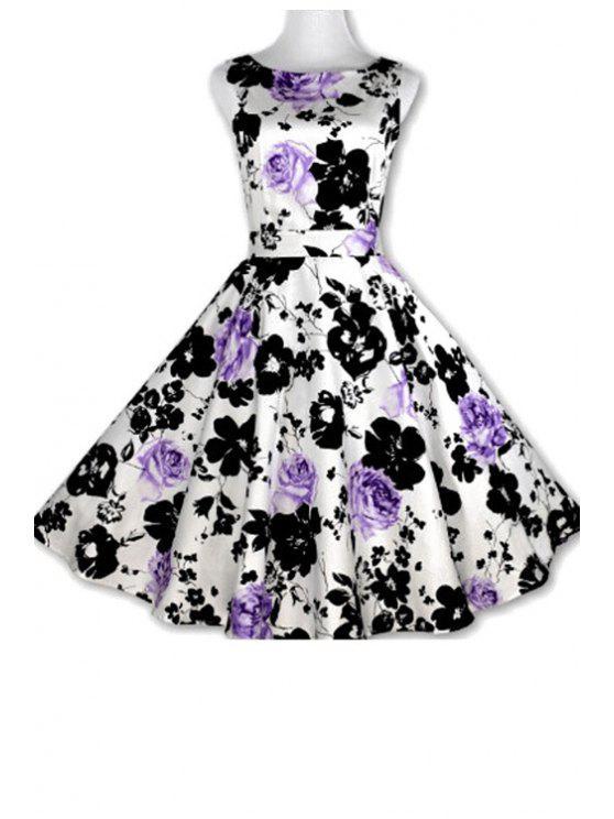 best Floral Print A-Line Round Color Sleeveless Dress - PURPLE L