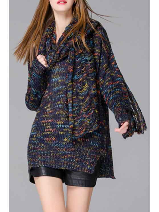 womens Side Slit Multicolored Sweater + Scarf Twinset - COLORMIX ONE SIZE(FIT SIZE XS TO M)