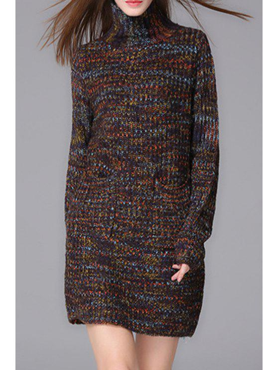women's Turtle Neck Mixed Color Sweater - COLORMIX ONE SIZE(FIT SIZE XS TO M)